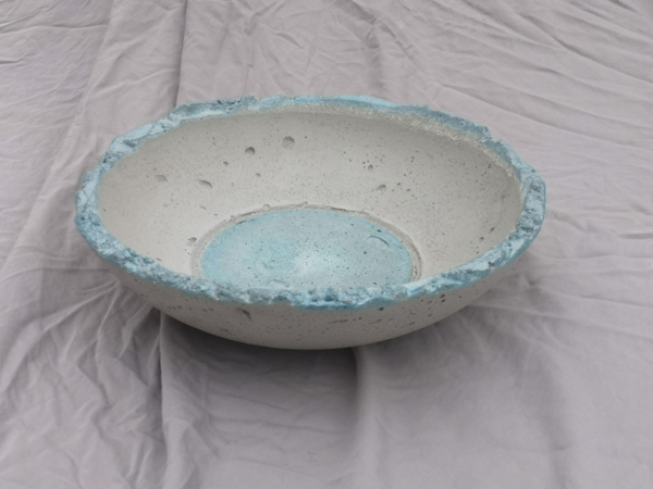 Concrete Art Bowl stained in cool forest green on rim and in centre
