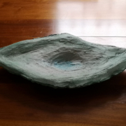 "Handsculpted large ""Concrete Art Platter"" stained in cool forest green and turquoise."